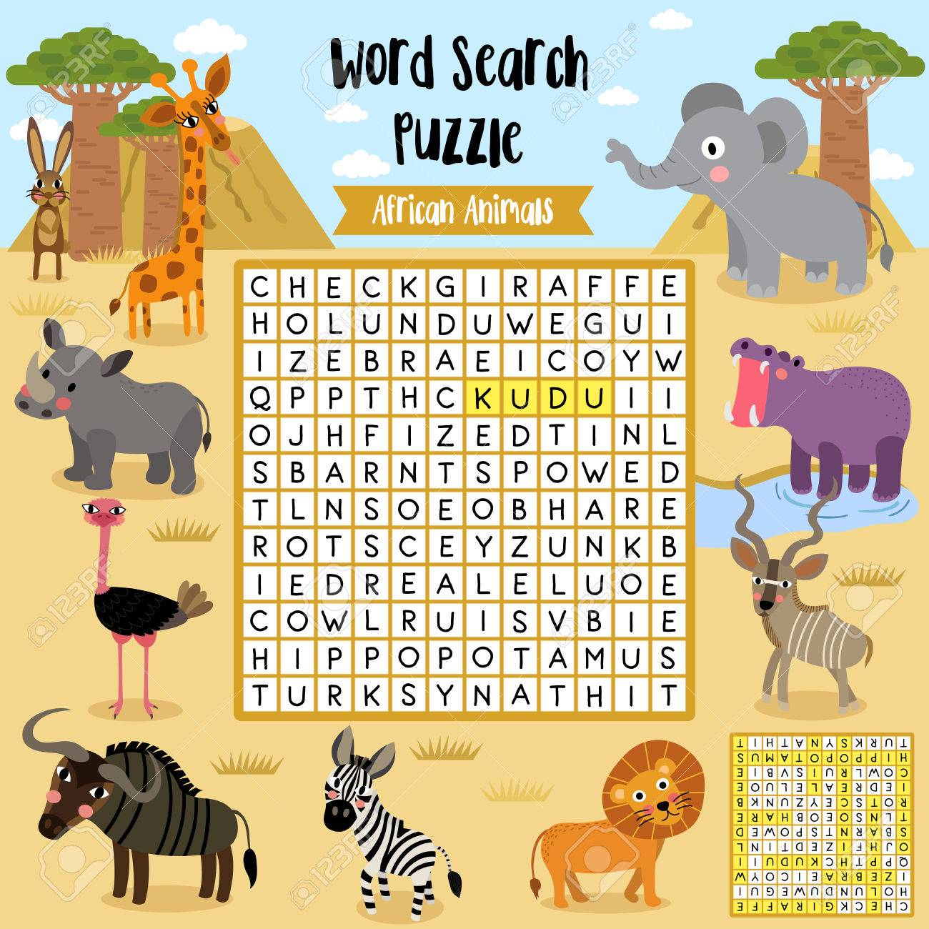 Words Search Puzzle Game Of African Animals For Preschool Kids