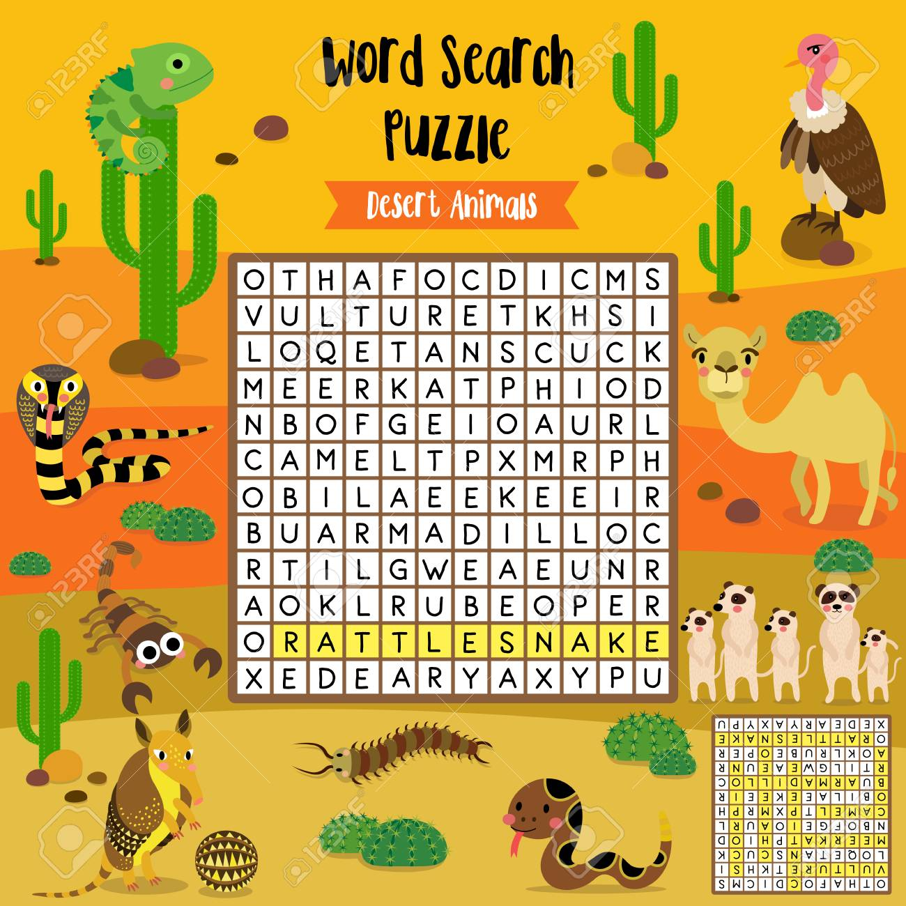 words search puzzle game of desert animals for preschool kids activity worksheet layout in a4 colorf