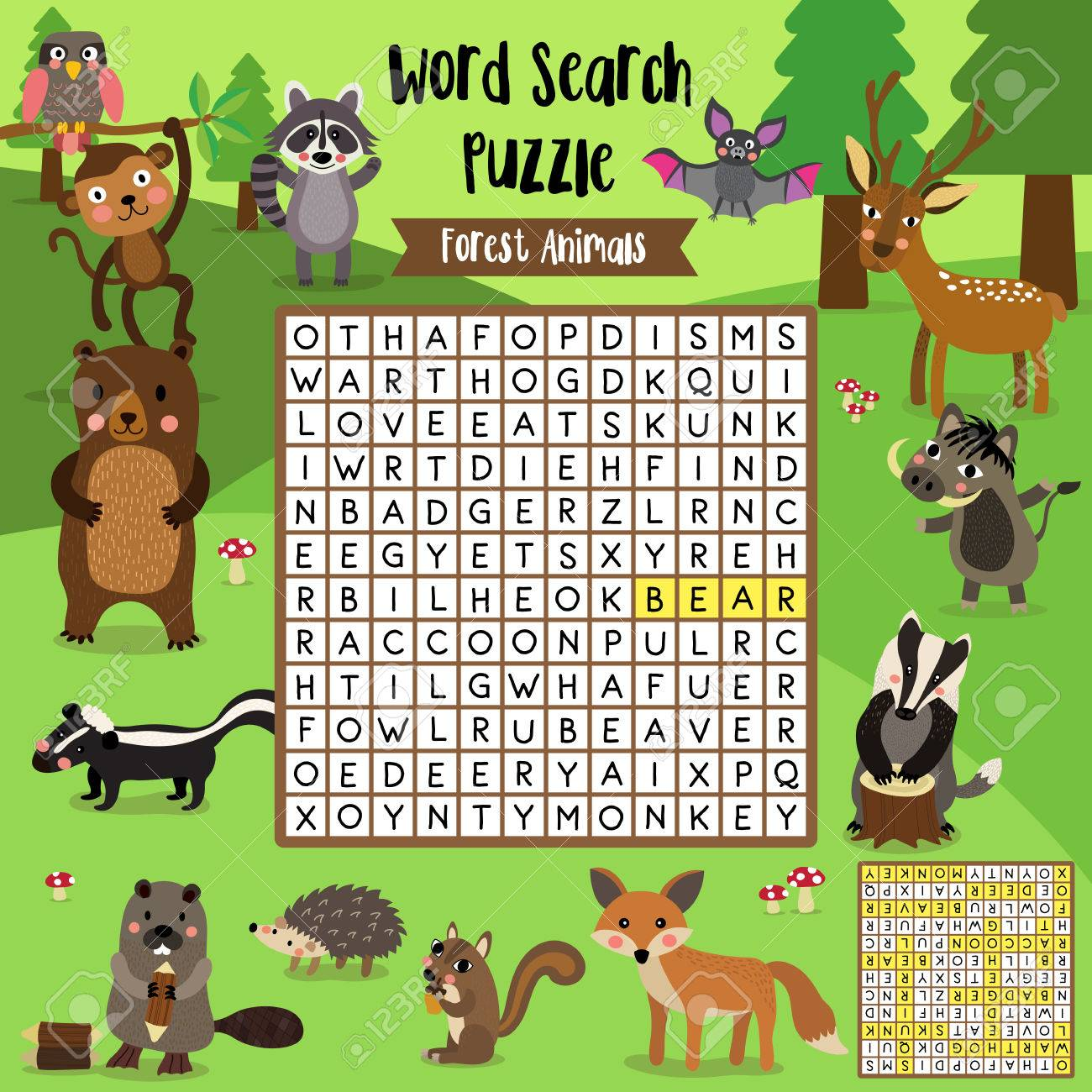 Words Search Puzzle Game Of Forest Animals For Preschool Kids ...