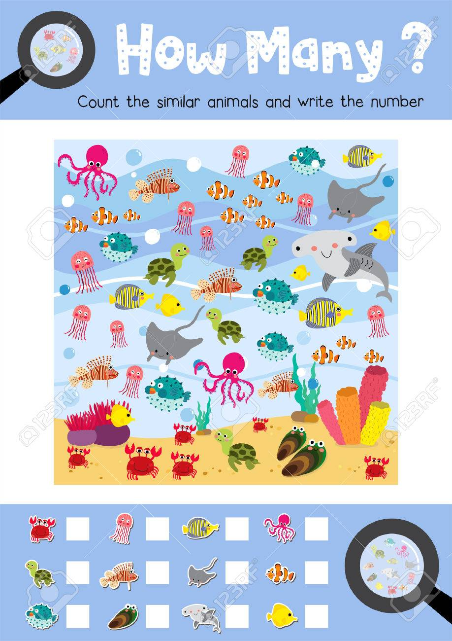 image relating to Ocean Animals Printable named Counting sport of ocean pets for preschool young children game worksheet..