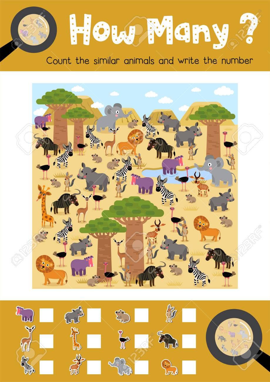 Zählen Von Spiel Von Afrikanischen Tieren Für Vorschulkinder ...