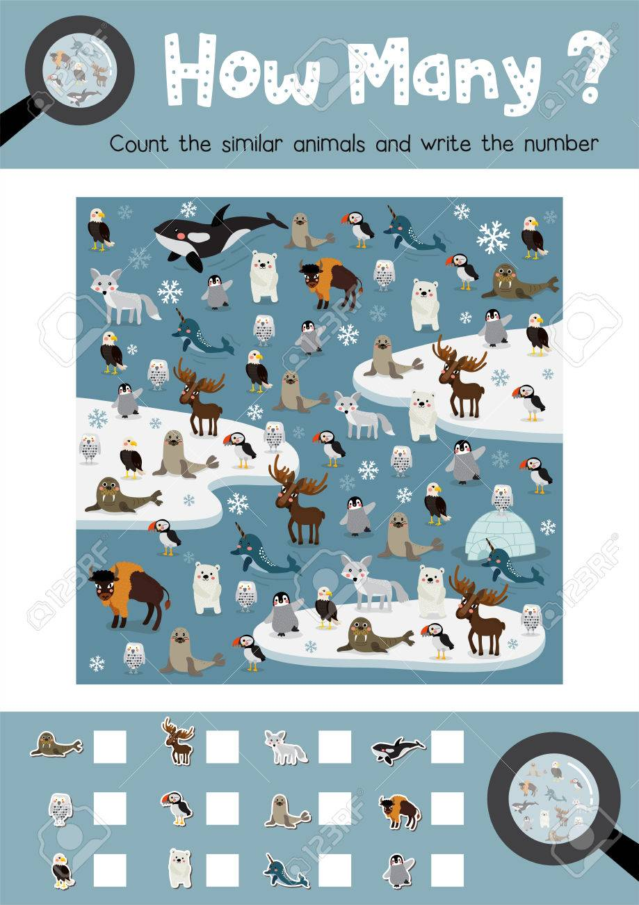 Counting game of arctic animals for preschool kids activity worksheet..
