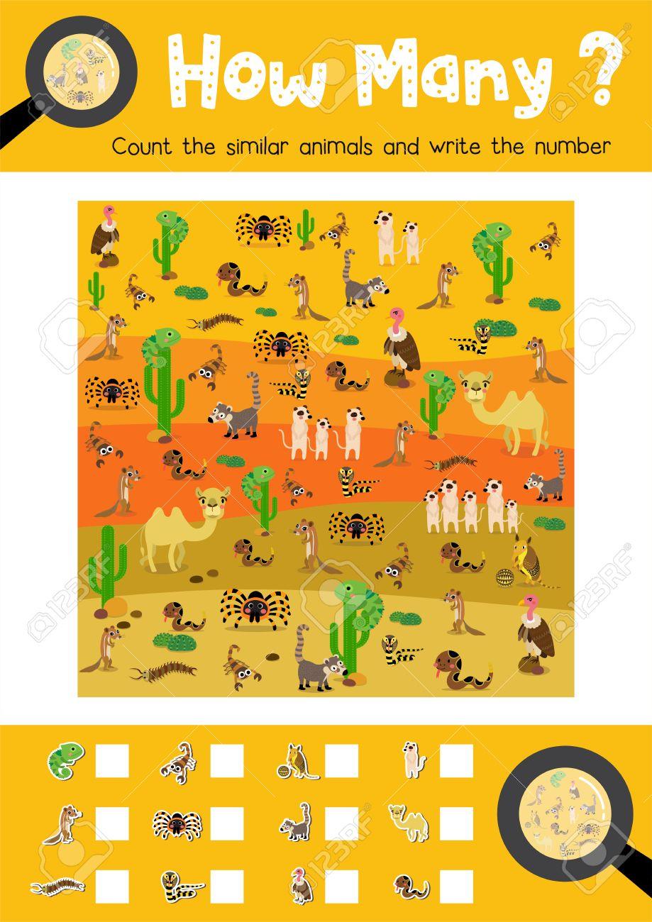 Counting-Spiel Von Wüsten-Tiere Für Vorschulkinder Aktivität ...
