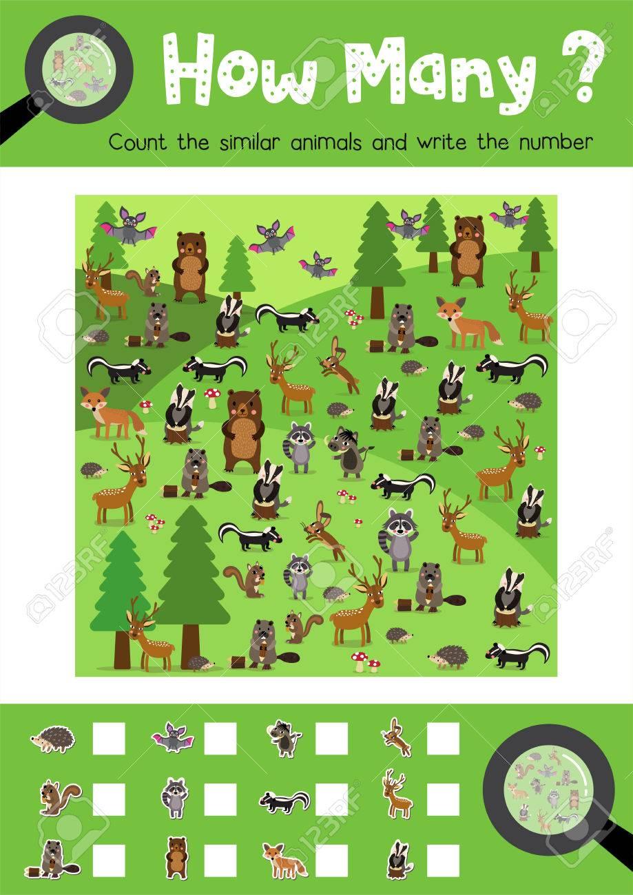 Counting-Spiel Von Waldtieren Für Vorschulkinder Aktivität ...