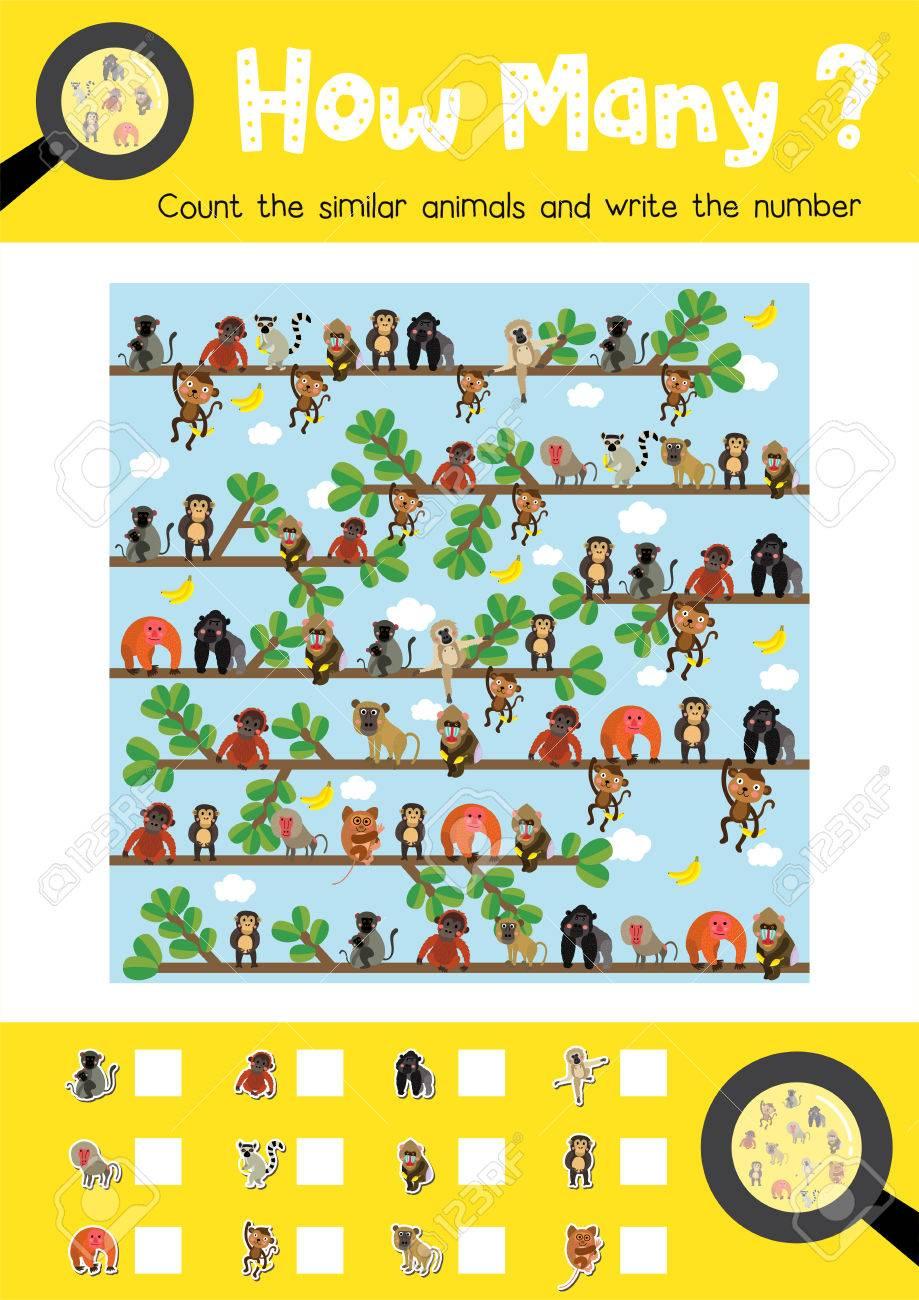 Zählen Spiel Von Niedlichen Affen Und Primaten Tiere Für Vorschule ...
