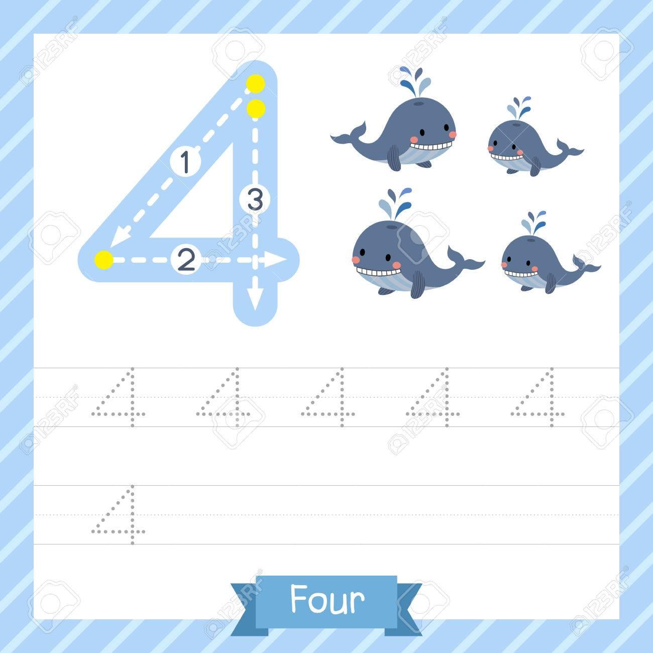 Nummer Vier Tracing Praxis Arbeitsblatt Mit 4 Walen Für Kinder ...