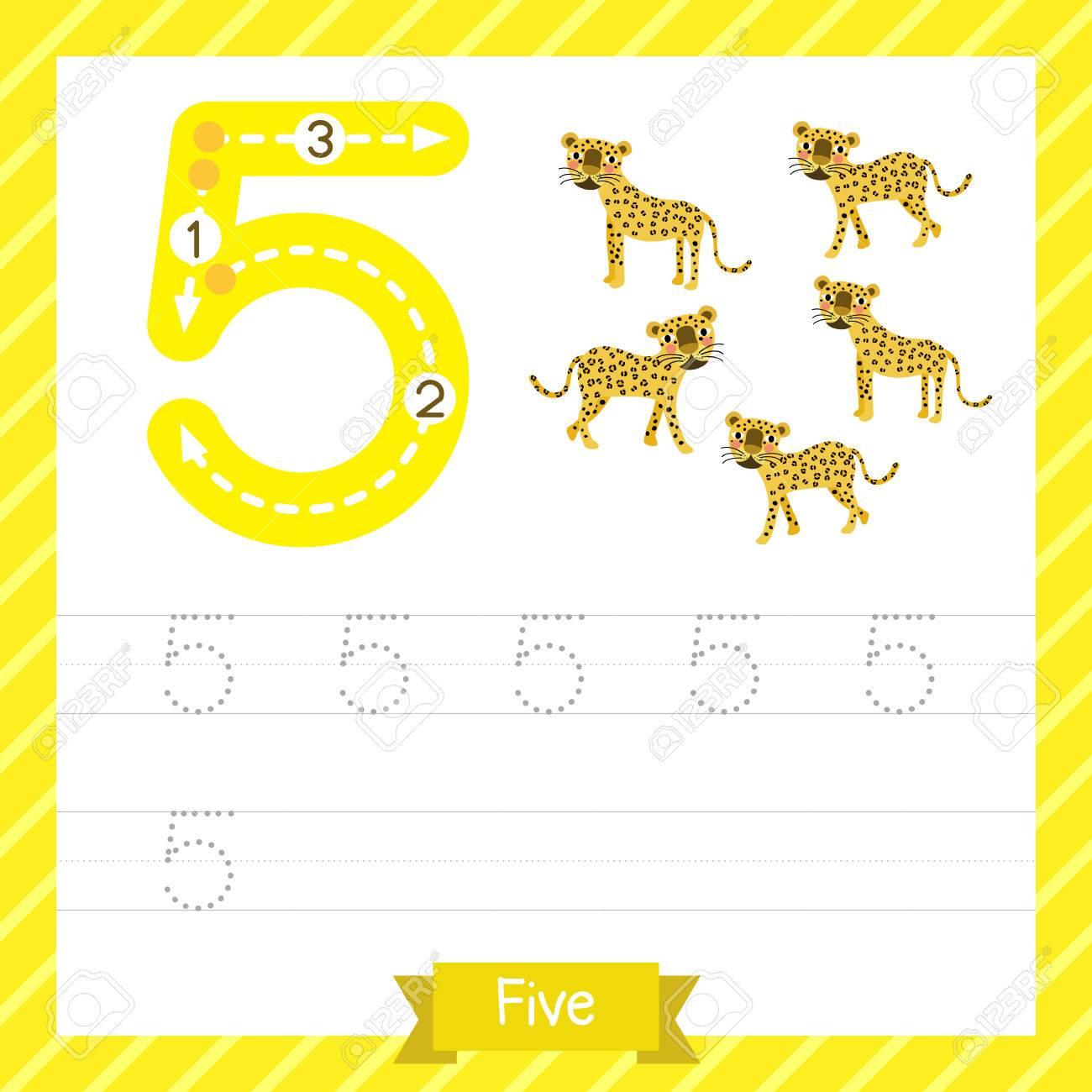 Nummer Fünf Tracing Praxis Arbeitsblatt Mit 5 Tigern Für Kinder ...
