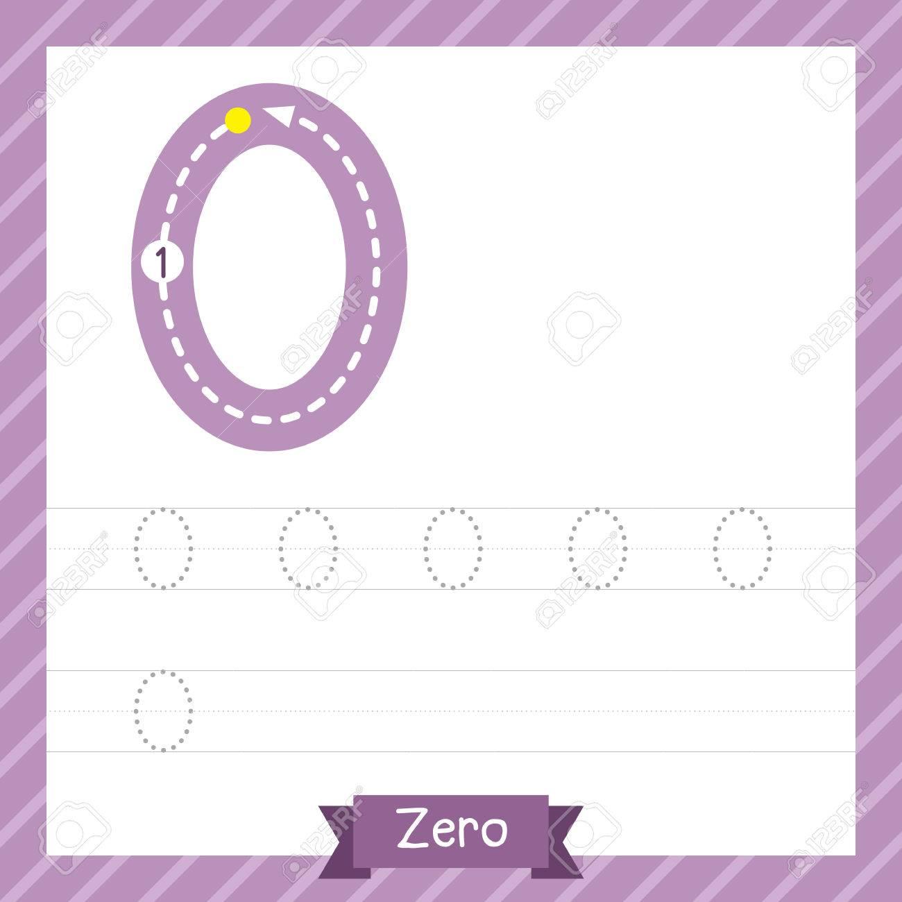Nummer Zero Tracing Praxis Arbeitsblatt Für Kinder Lernen Zu Zählen ...