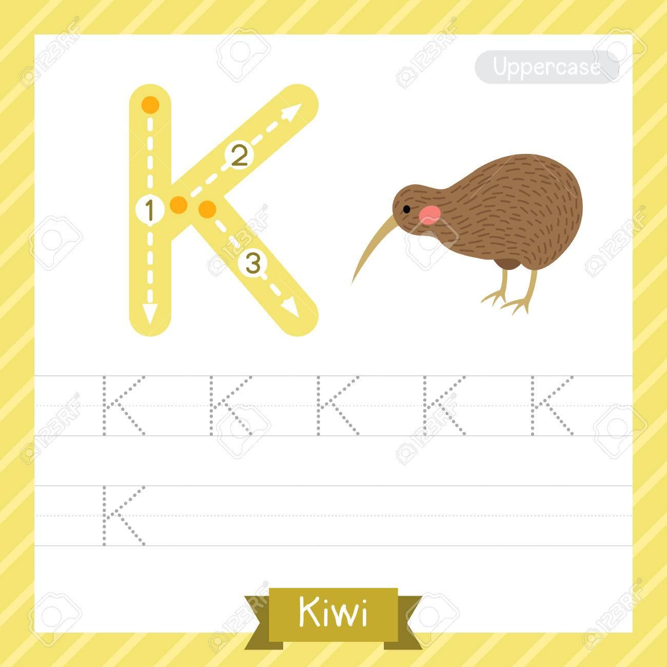 Letter K Großbuchstaben Praxis Praxis Arbeitsblatt Mit Kiwi Für ...