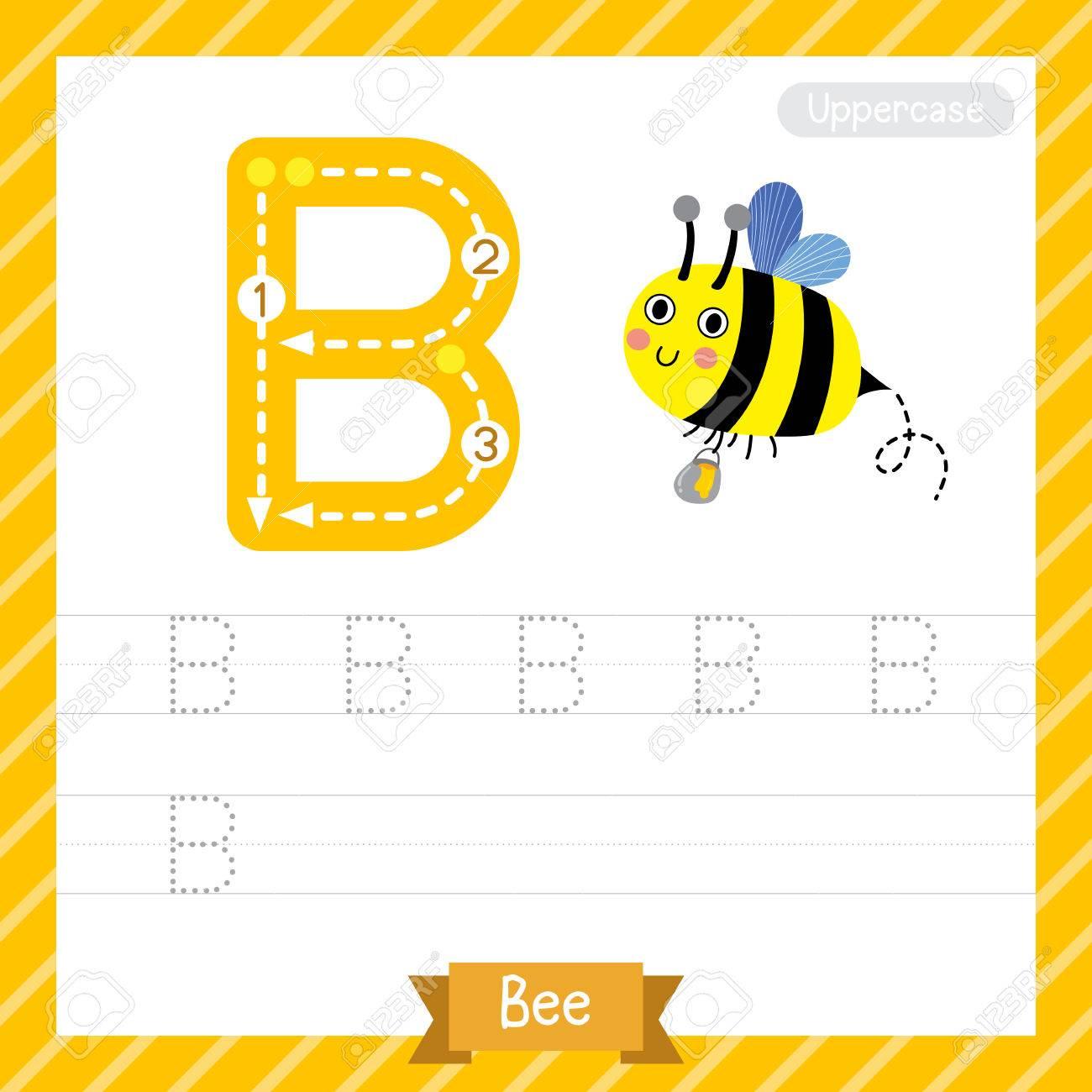 Letter B Großbuchstaben-Übungs-Arbeitsblatt Mit Biene Für Kinder ...