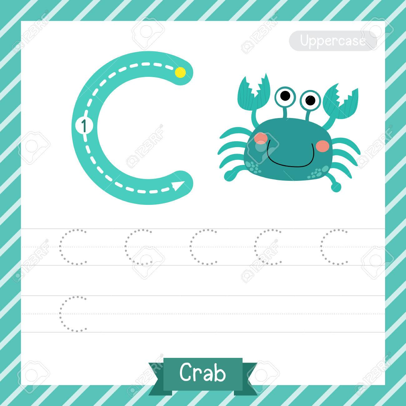 Letter C Uppercase Tracing Practice Worksheet With Crab For Kids ...