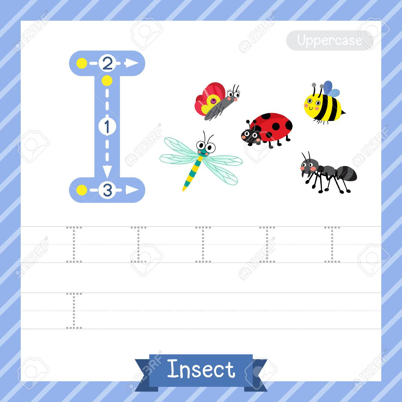 letter i uppercase tracing practice worksheet with insect for kids learning to write illustration