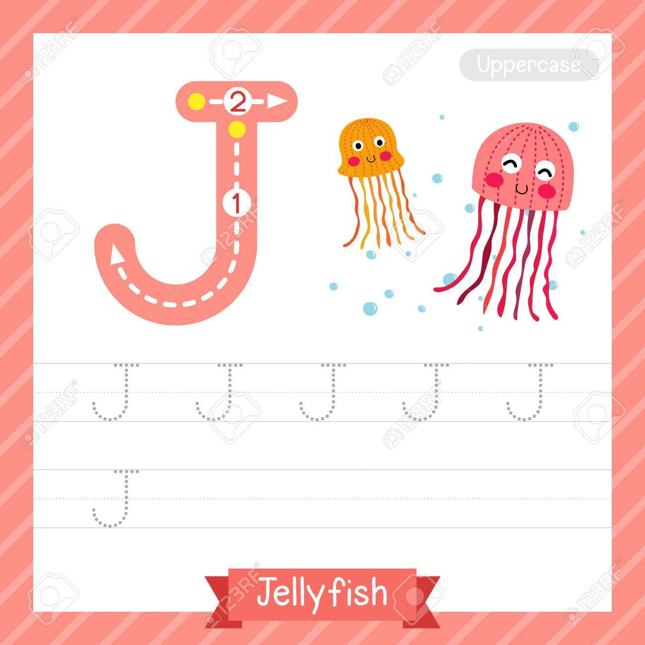 Letter J Uppercase Tracing Practice Worksheet With Jellyfish ...