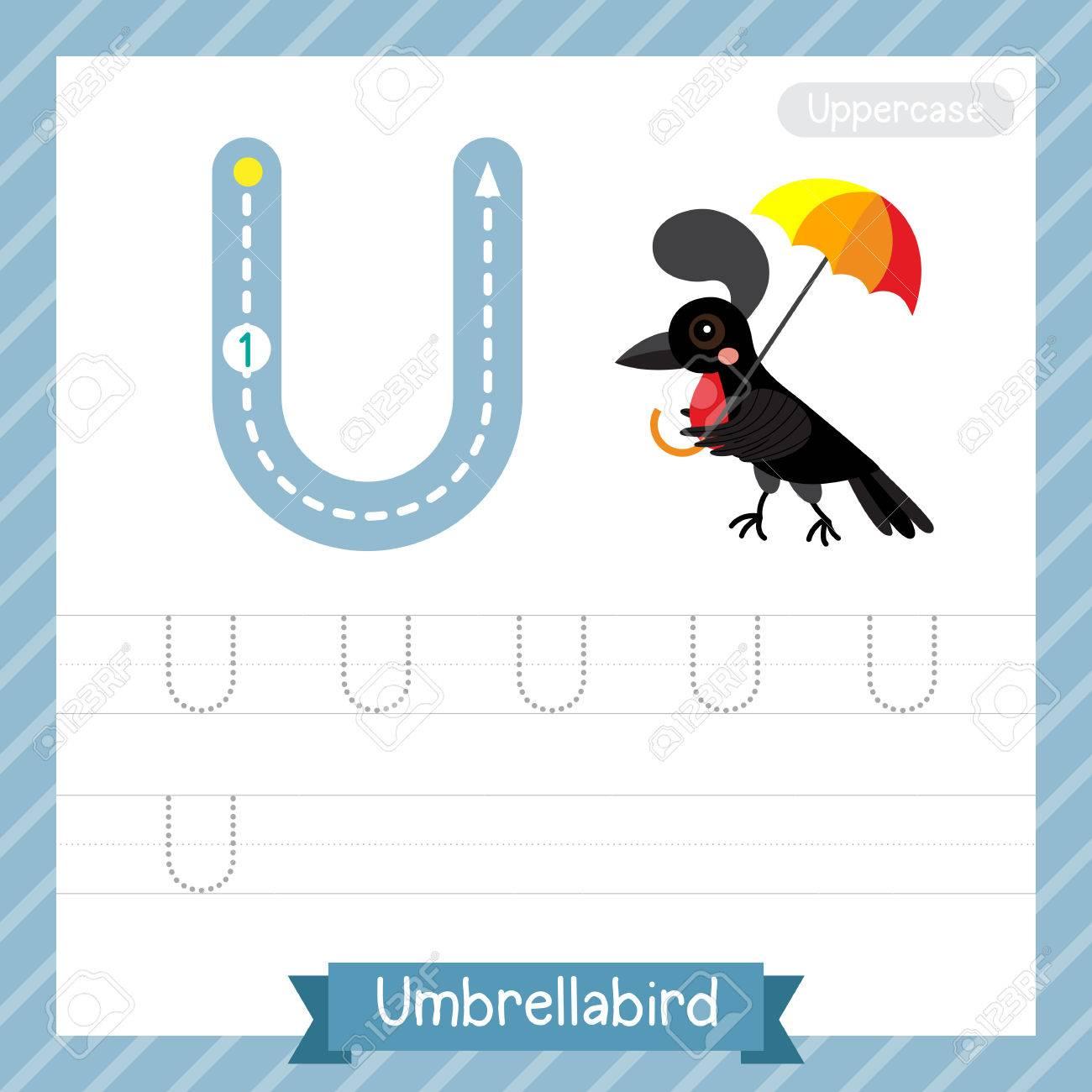 Letter U Großbuchstaben Übungsarbeitsblatt Mit Regenschirmschirm Für ...