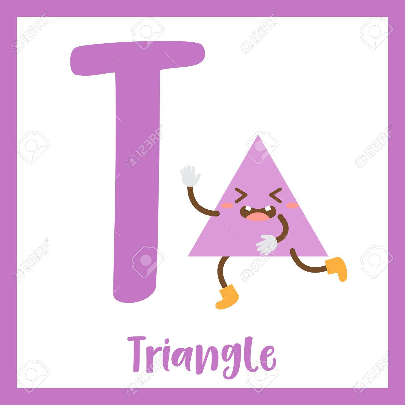 Letter T Cute Children Colorful Geometric Shapes Alphabet Flashcard ...