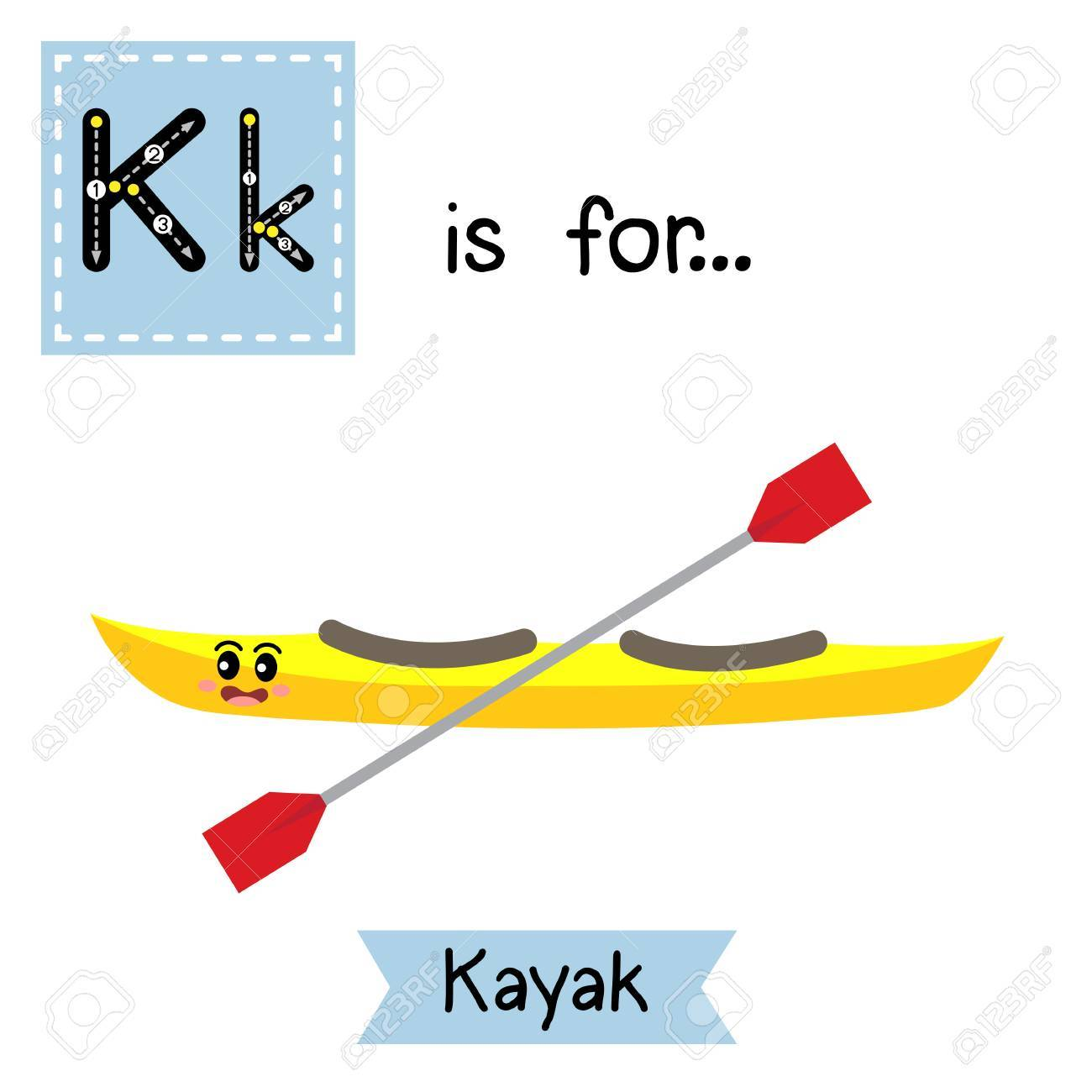 Letter K Cute Children Colorful Transportations Alphabet Tracing Flashcard Of Kayak For Kids Learning English Vocabulary