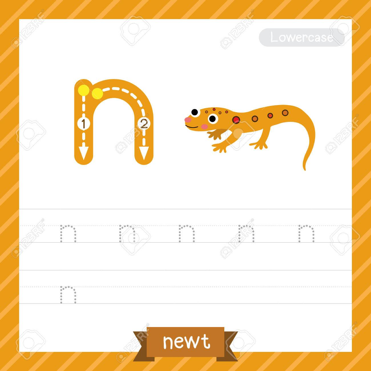 Letter N Lowercase Tracing Practice Worksheet With Newt For Kids ...