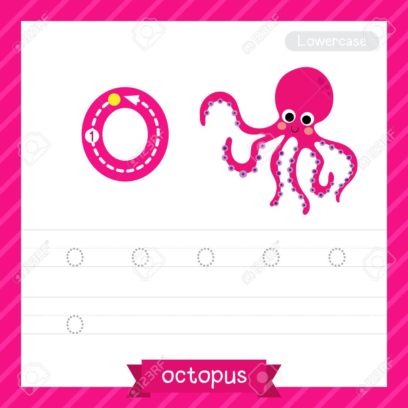 Letter O Lowercase Tracing Practice Worksheet With Octopus For ...