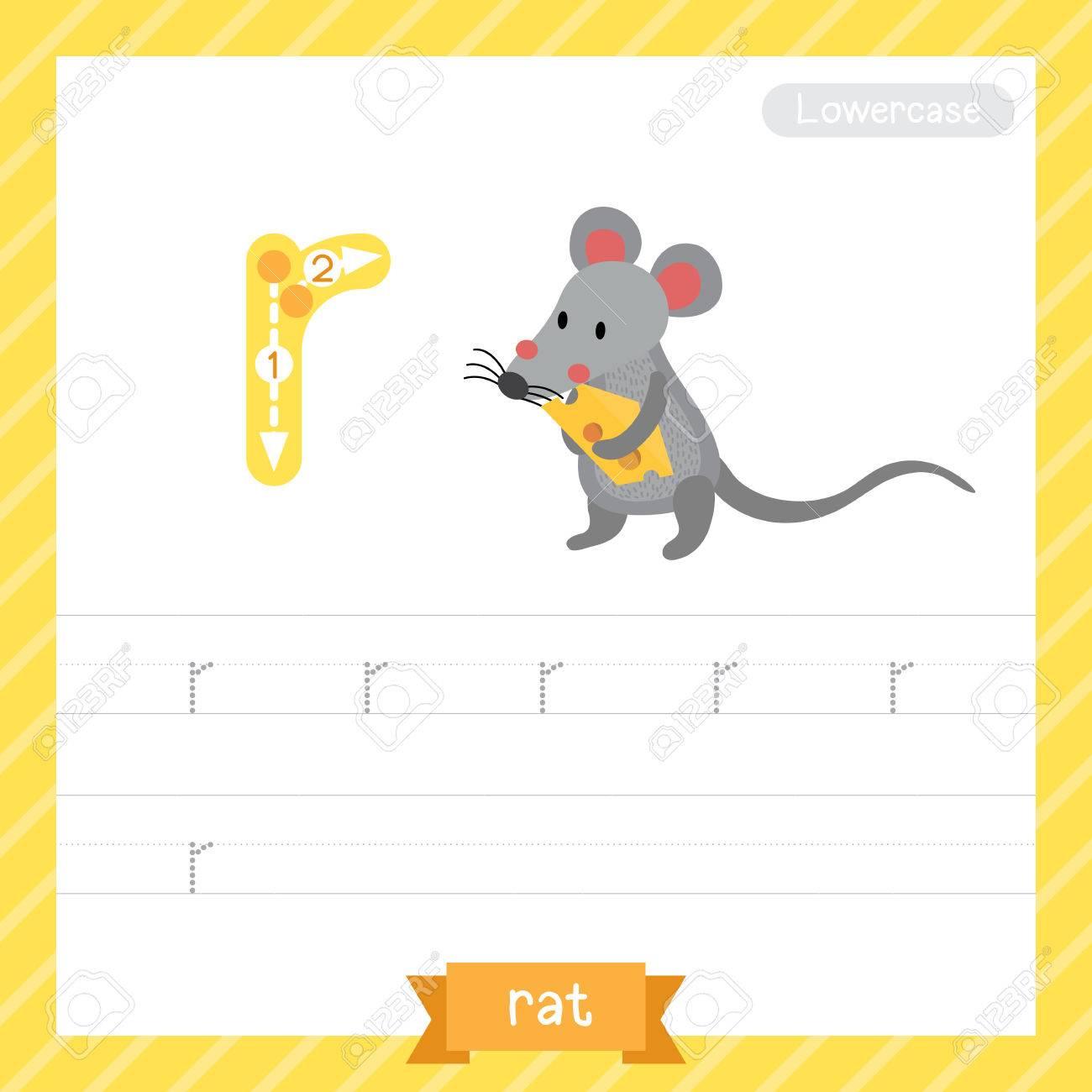 Letter R Kleinbuchstaben-Übungsarbeitsblatt Mit Ratte Für Kinder ...