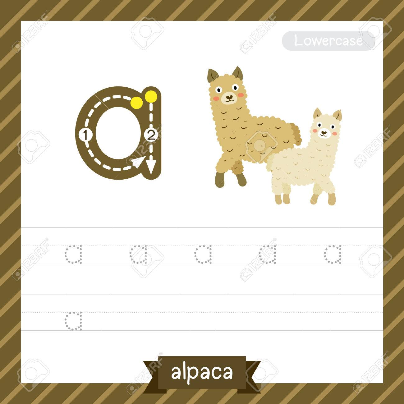 Letter A Lowercase Tracing Practice Worksheet With Alpaca For ...