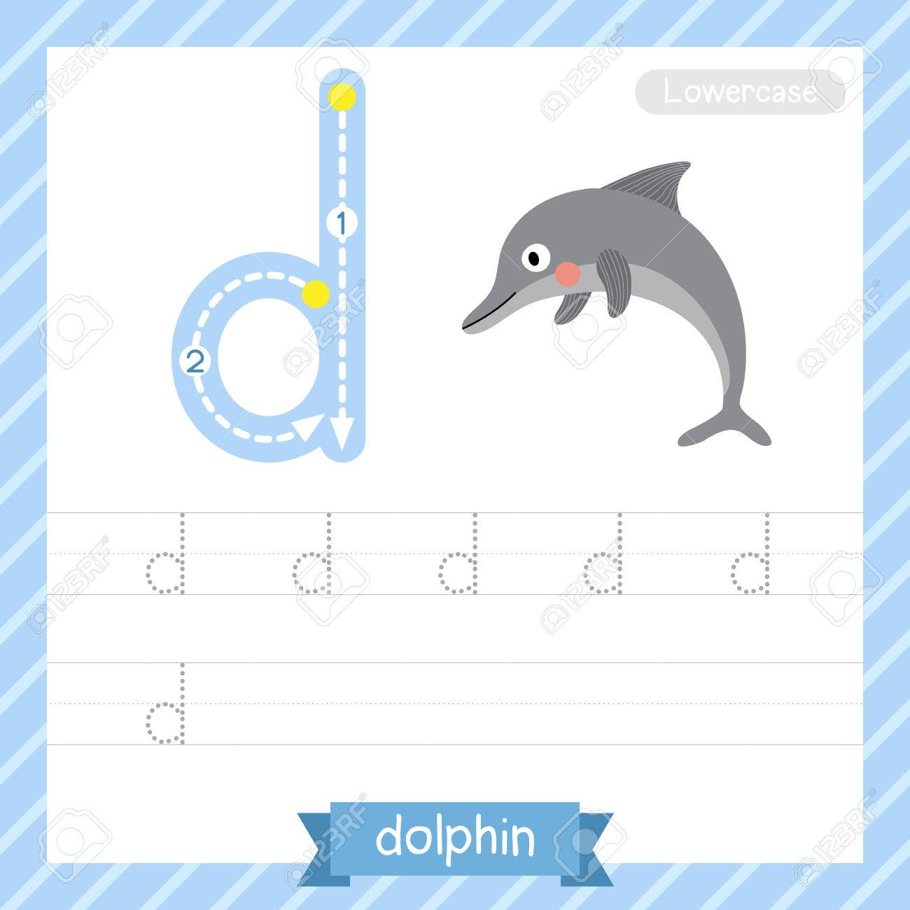 Letter D Lowercase Tracing Practice Worksheet With Dolphin For