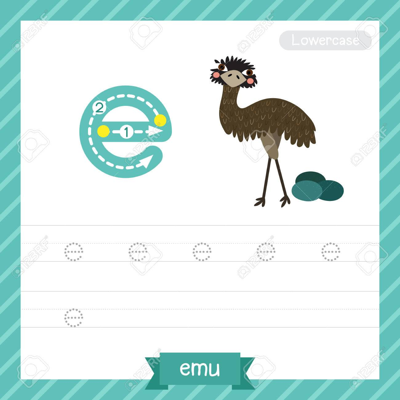 Letter E Kleinbuchstaben-Übungs-Arbeitsblatt Mit Emu Für Kinder ...