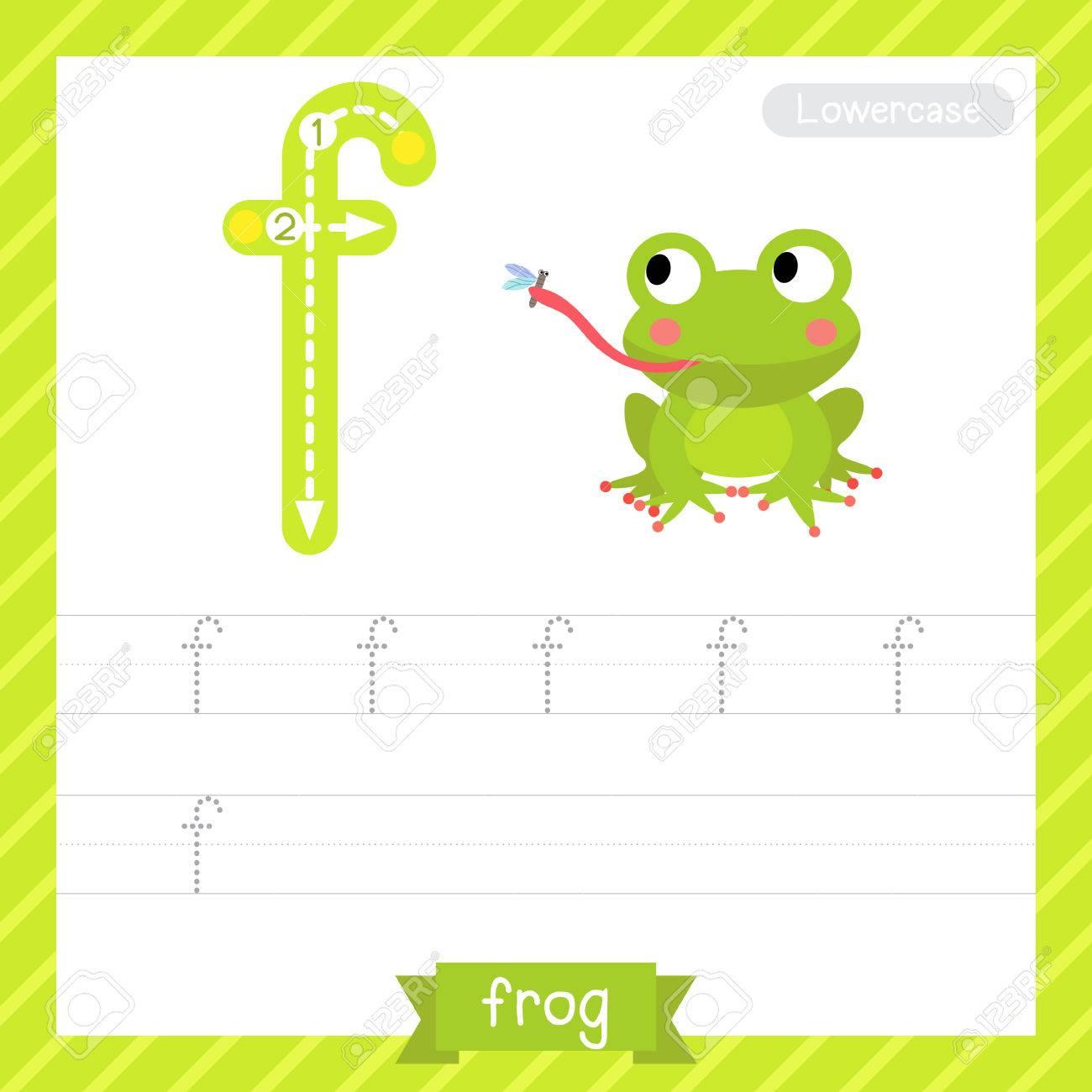 Letter F Kleinbuchstaben-Übungs-Arbeitsblatt Mit Frosch Für Kinder ...