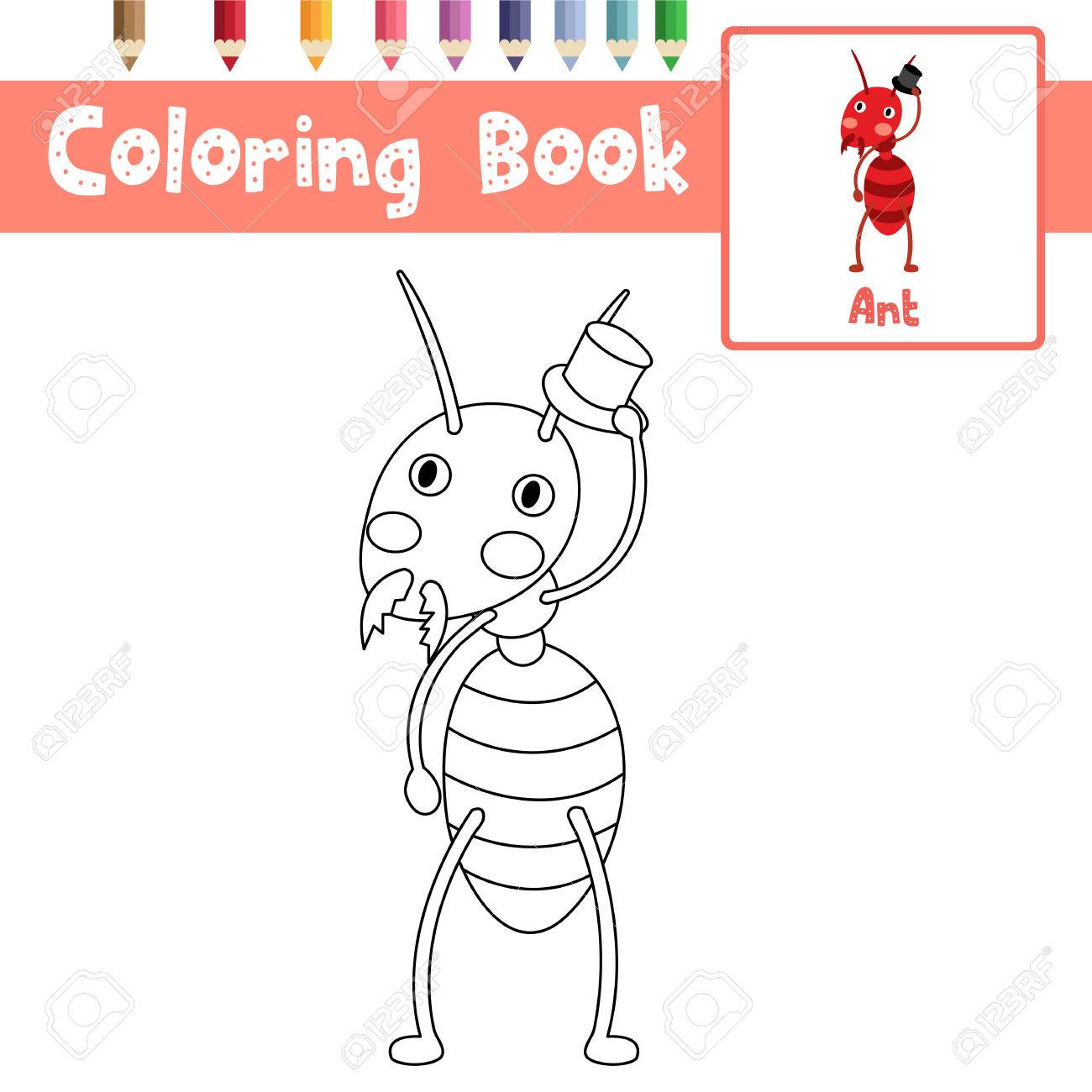 Coloring Page Of Fire Ant With Black Hat Animals For Preschool ...