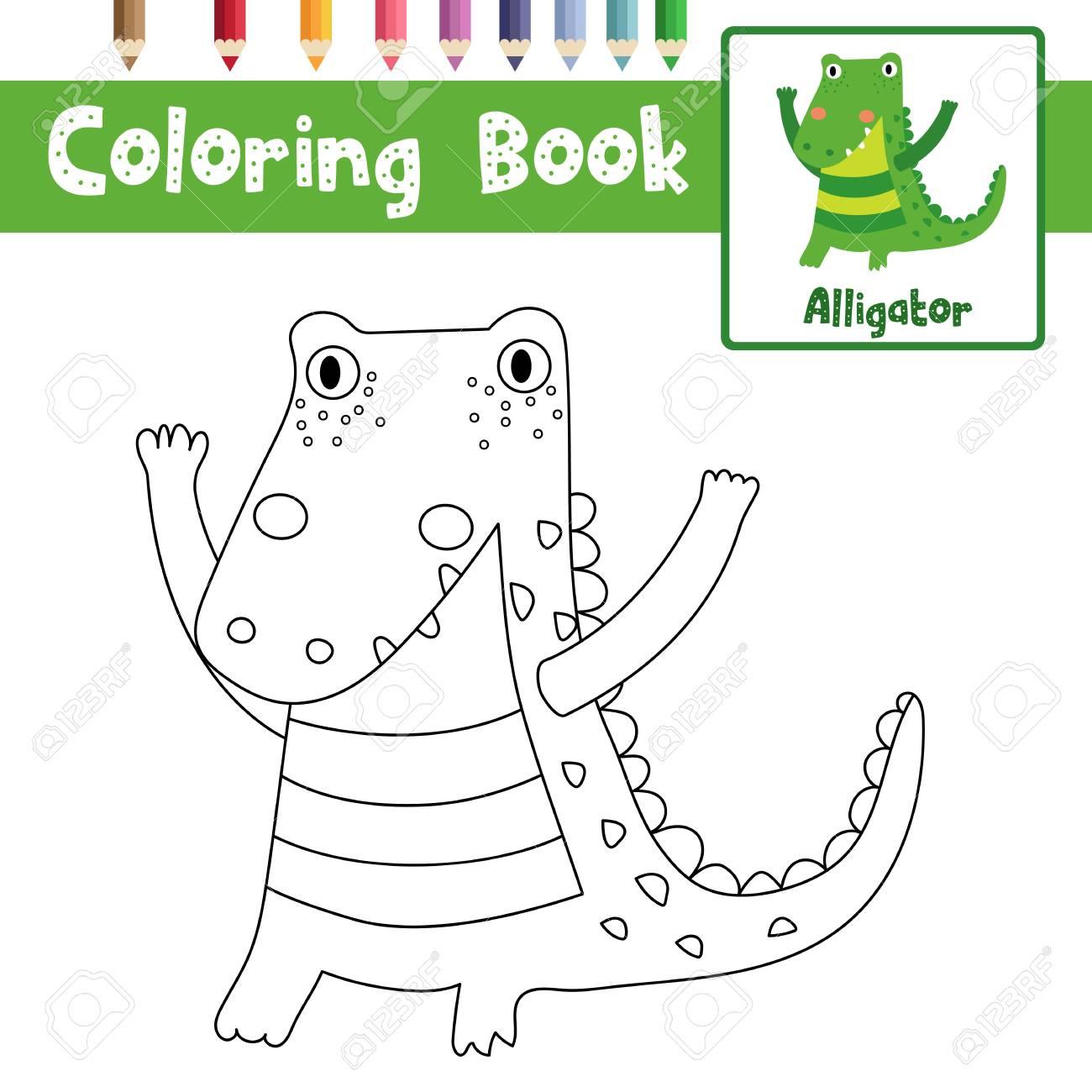 Färbung Seite Der Stehenden Alligator Tiere Für Vorschule Kinder ...