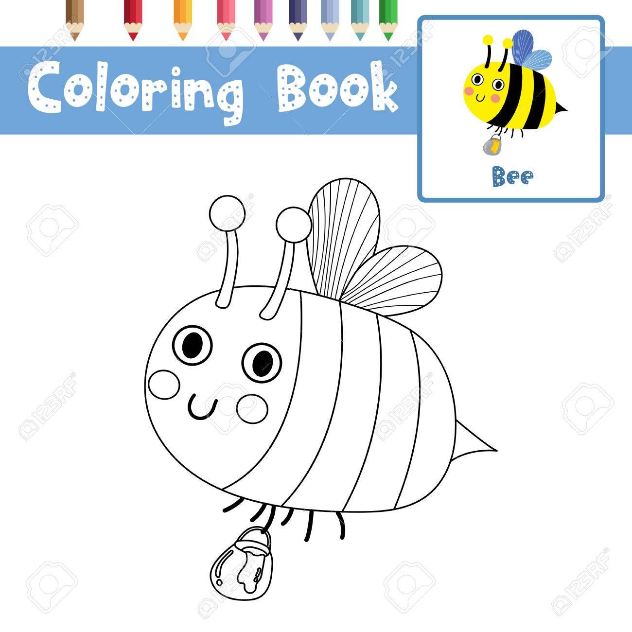 Dibujo Para Colorear De Una Abeja Volando Con Un Frasco De Miel, La ...