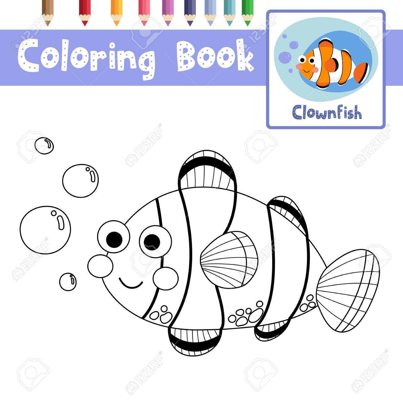 Coloring Page Of Happy Clownfish Animals For Preschool Kids Activity ...