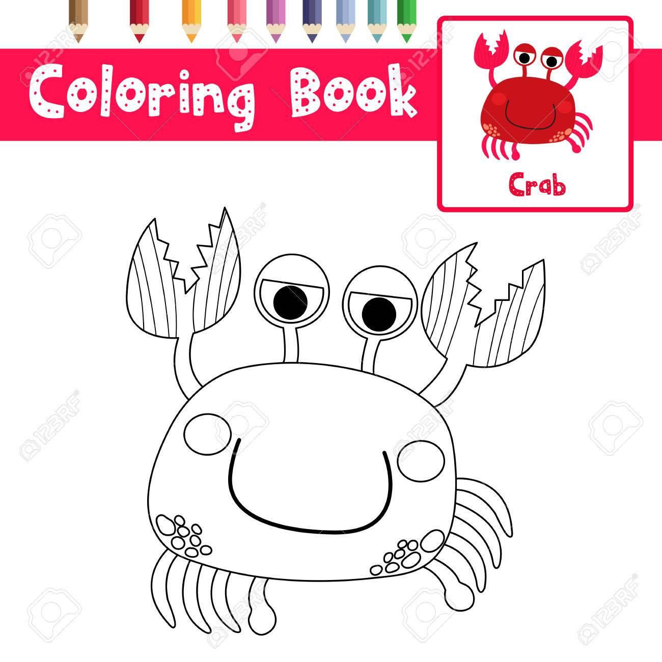 Malvorlage Von Roten Krabben-Tieren Für Vorschulkinder-Aktivitäts ...