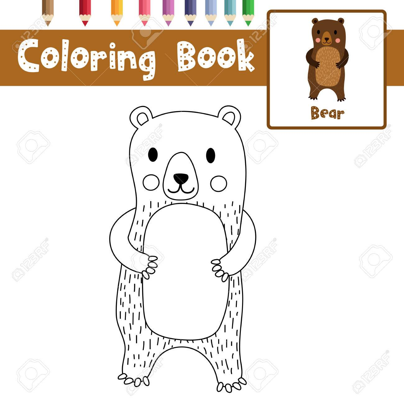 Coloring Page Of Standing Bear Animals For Preschool Kids Activity  Educational Worksheet. Vector Illustration.