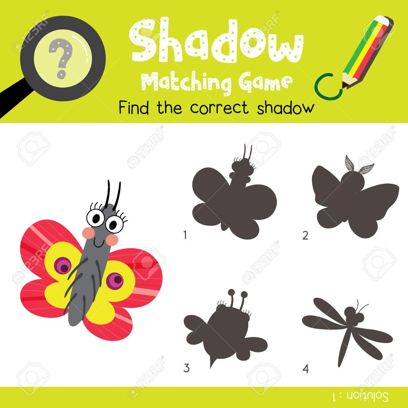 Schatten Matching Spiel Von Schmetterling Tiere Für Vorschule Kinder ...