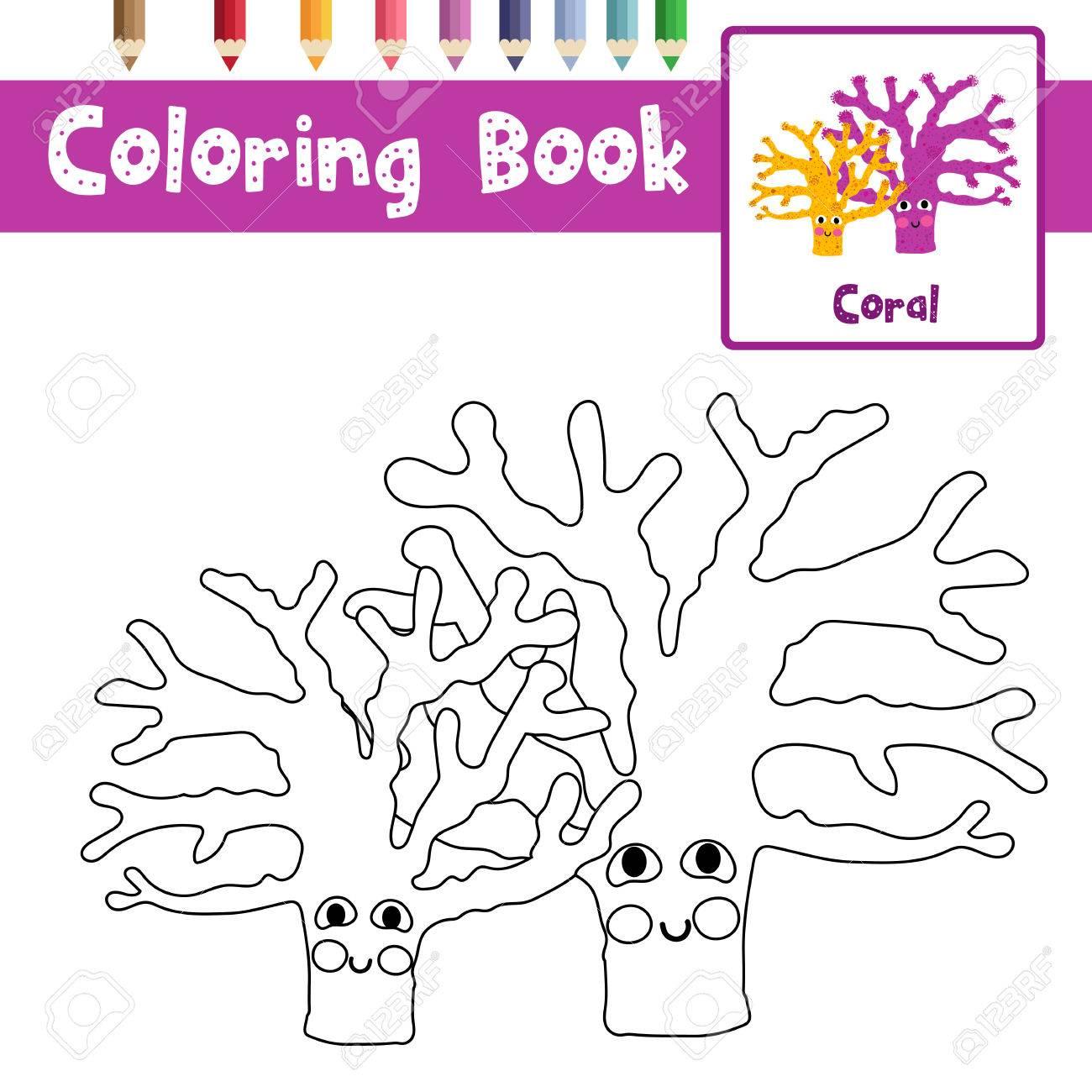 Colorear De Amarillo Y Púrpura Animales De Coral Para Preescolares ...
