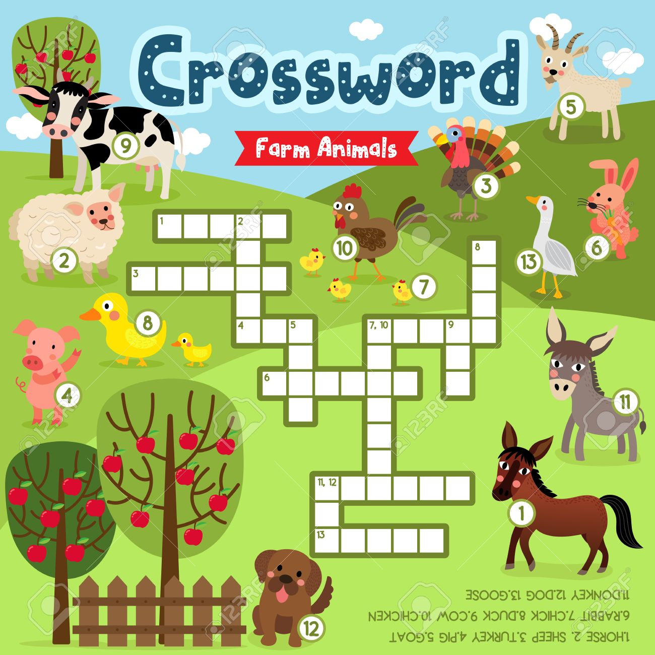 Image of: File Folder Crosswords Puzzle Game Of Farm Animals For Preschool Kids Activity Worksheet Colorful Printable Version Vector 123rfcom Crosswords Puzzle Game Of Farm Animals For Preschool Kids Activity