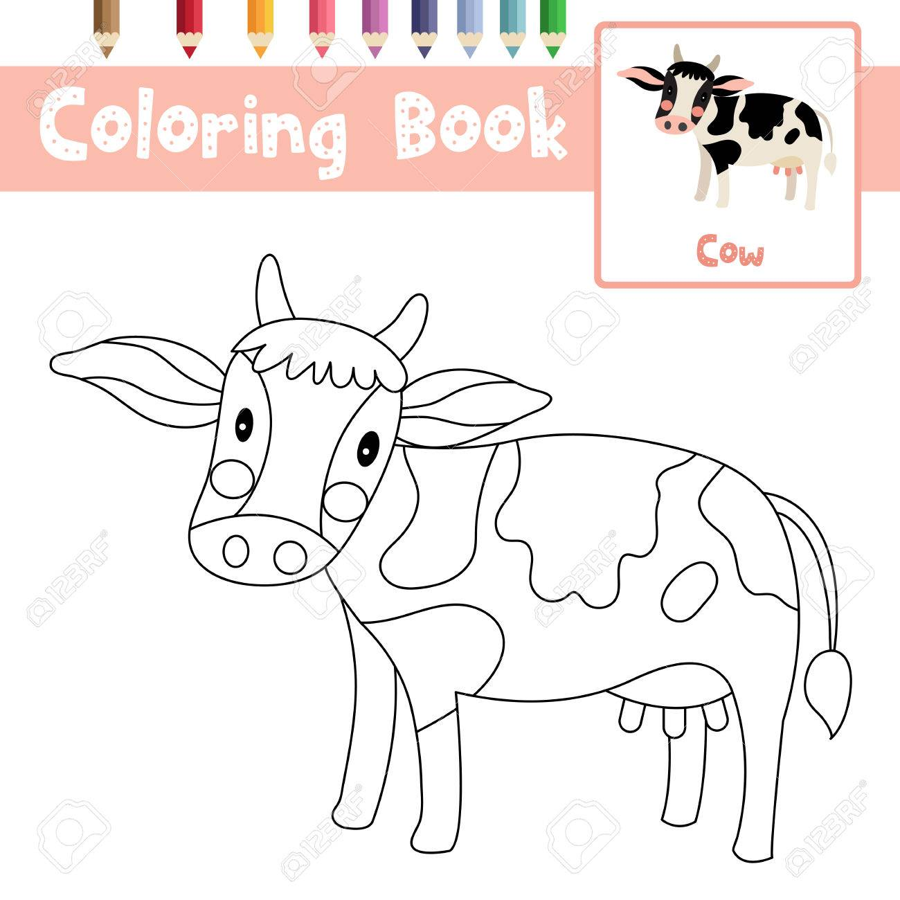 Coloring Page Of Cow Animals For Preschool Kids Activity Educational ...