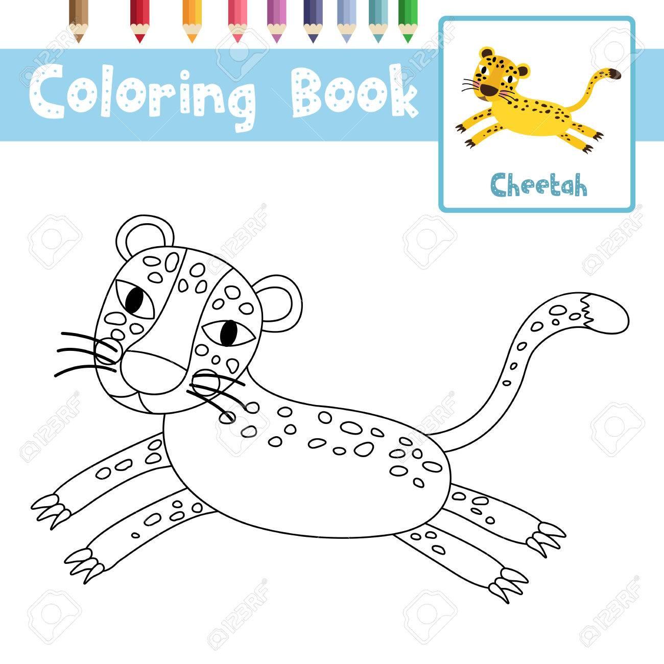 Malvorlage Von Jumping Cheetah Tiere Für Vorschule Kinder Aktivität ...