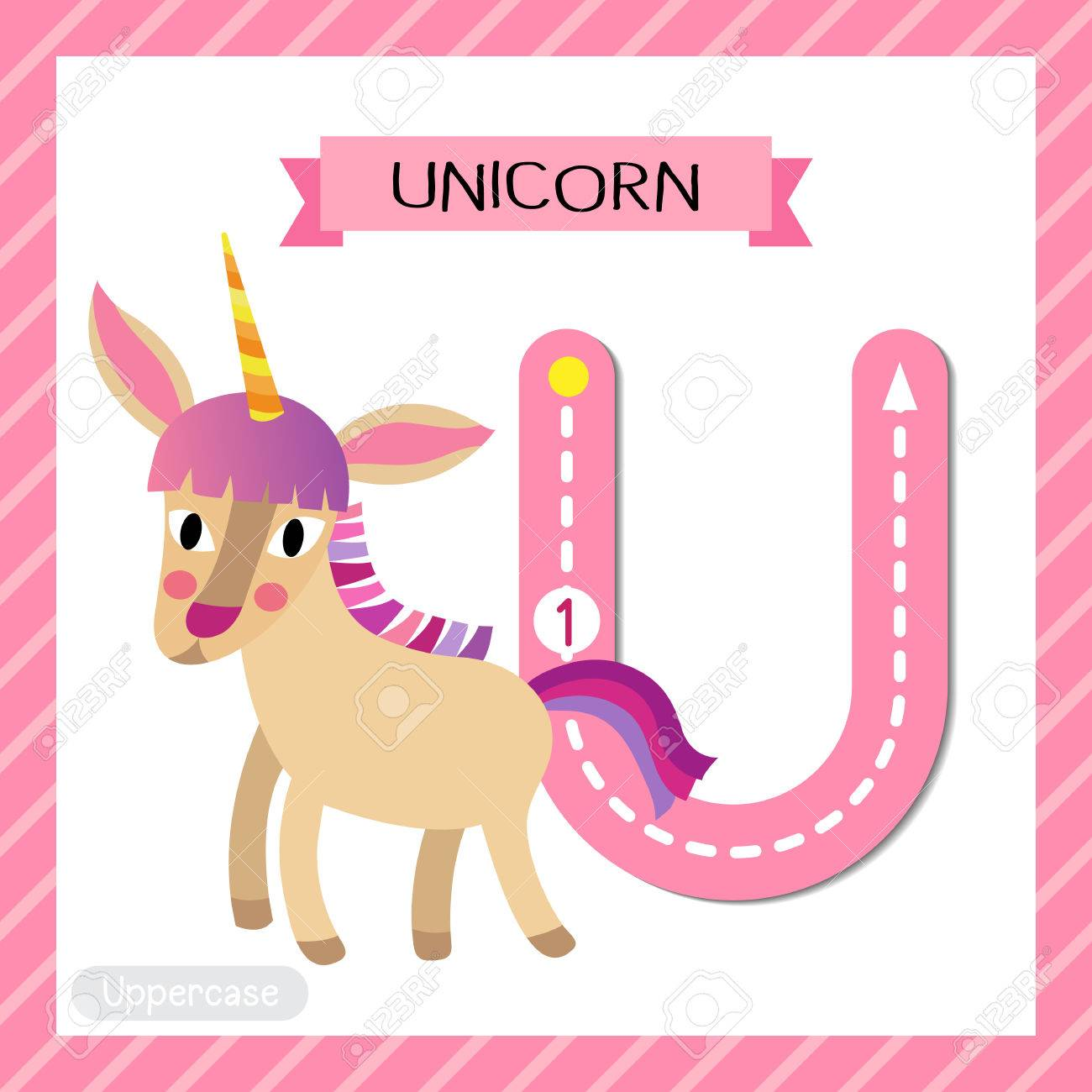Letter U Uppercase Cute Children Colorful Zoo And Animals ABC ...