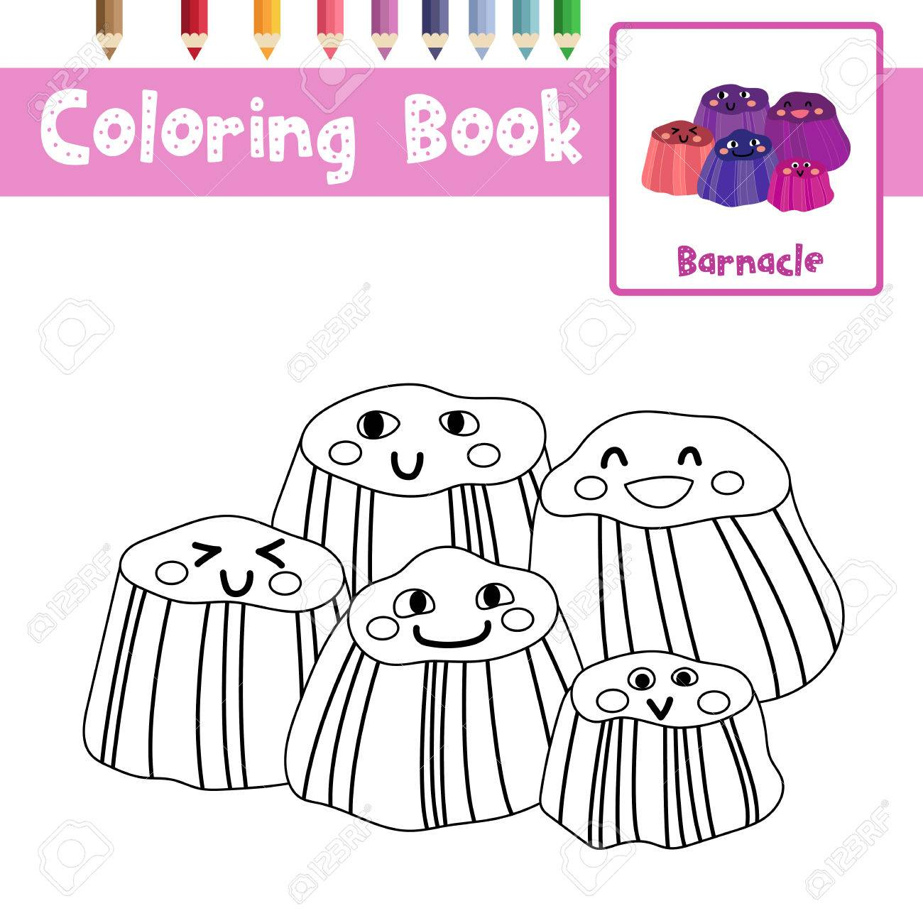 Coloring Page Of Barnacles Animals For Preschool Kids Activity Educational  Worksheet. Vector Illustration. Stock