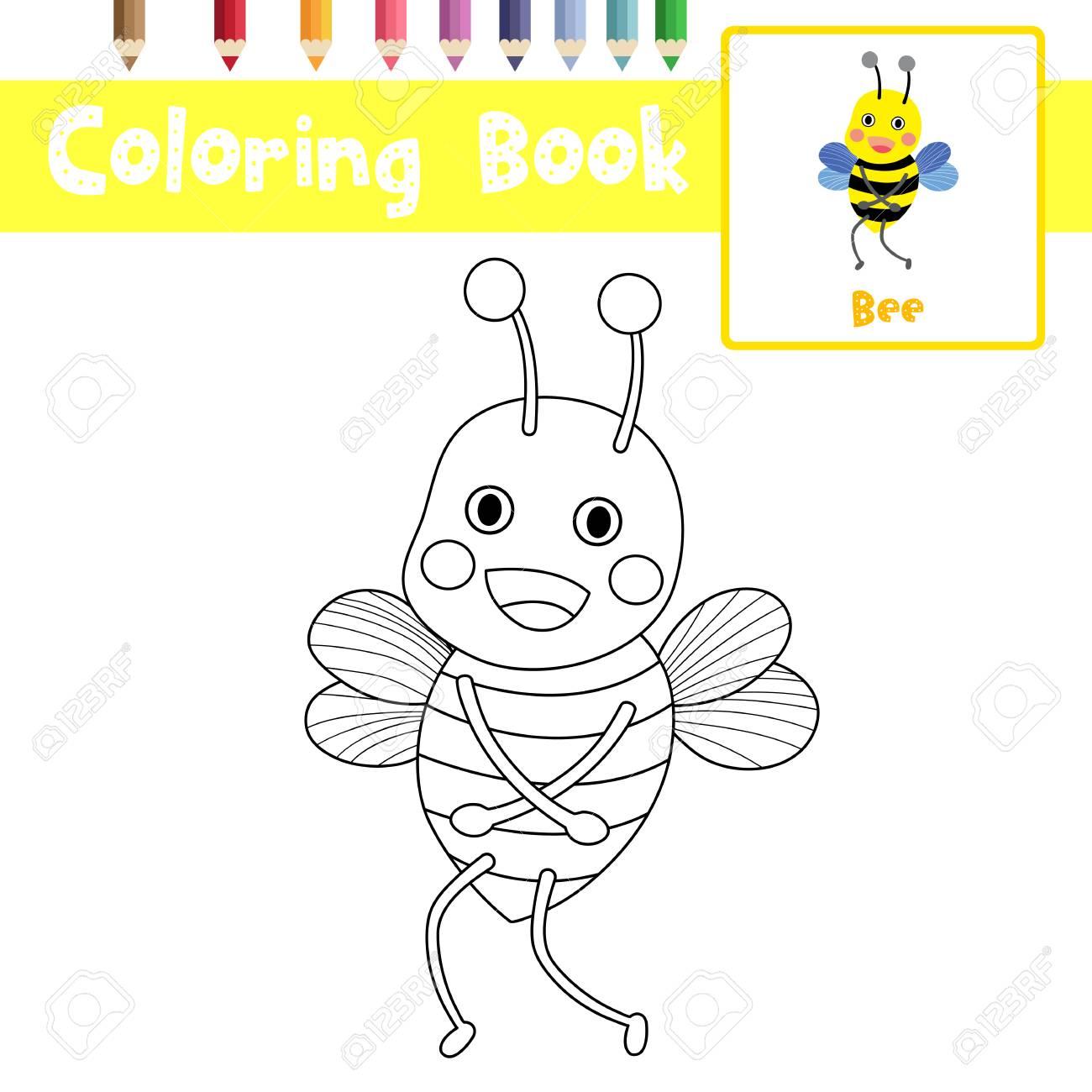 Página Para Colorear De Pie Animales De Abeja Para La Hoja De ...