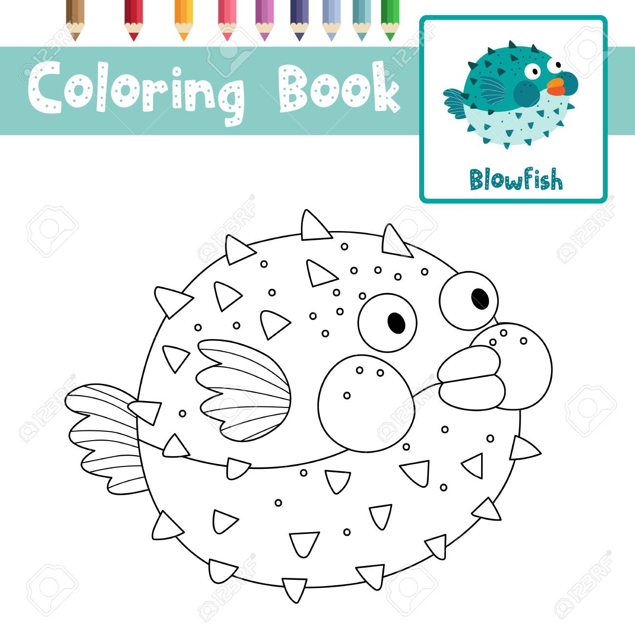 Coloring Page Of Blowfish Animals For Preschool Kids Activity Educational  Worksheet. Vector Illustration. Stock