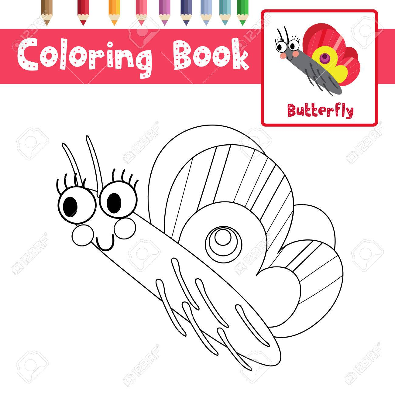 Great Coloring Page Of Butterfly Side View Animals For Preschool Kids Activity  Educational Worksheet. Vector Illustration