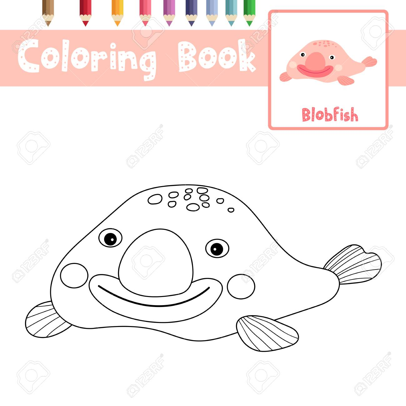 Coloring Page Of Happy Pink Blobfish Animals For Preschool Kids ...