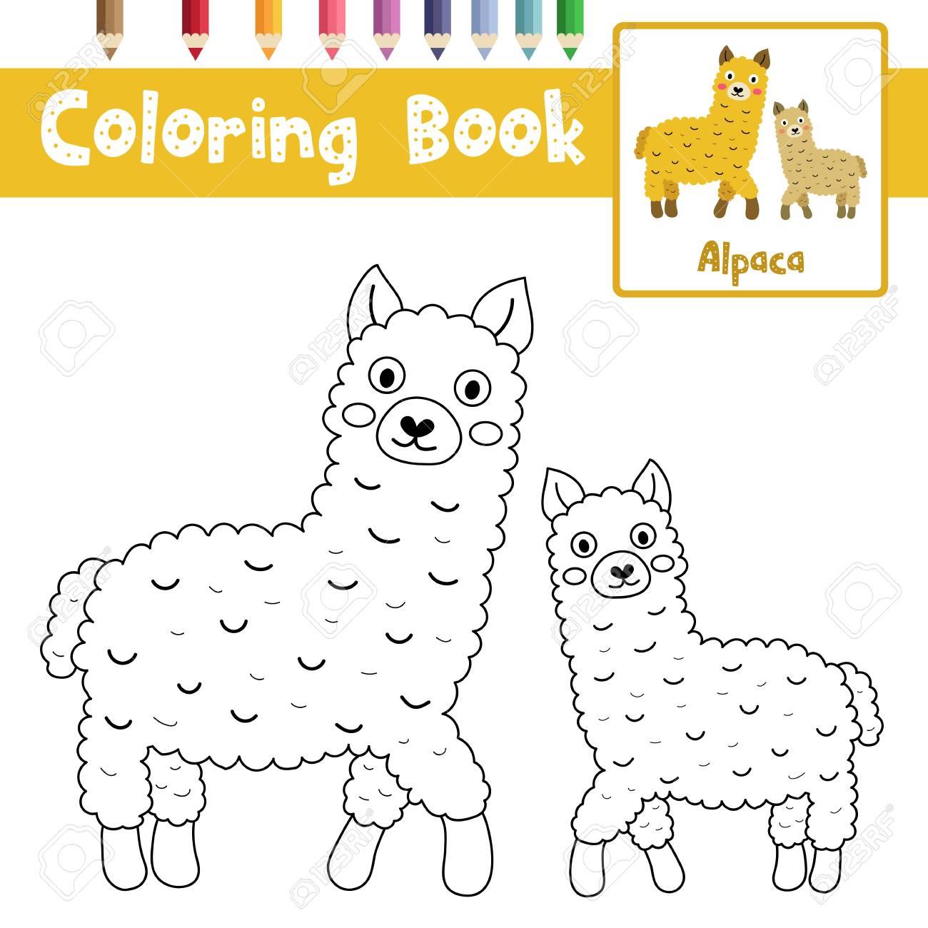 Página Para Colorear De Animales De Alpacas Madre E Hijo Para La
