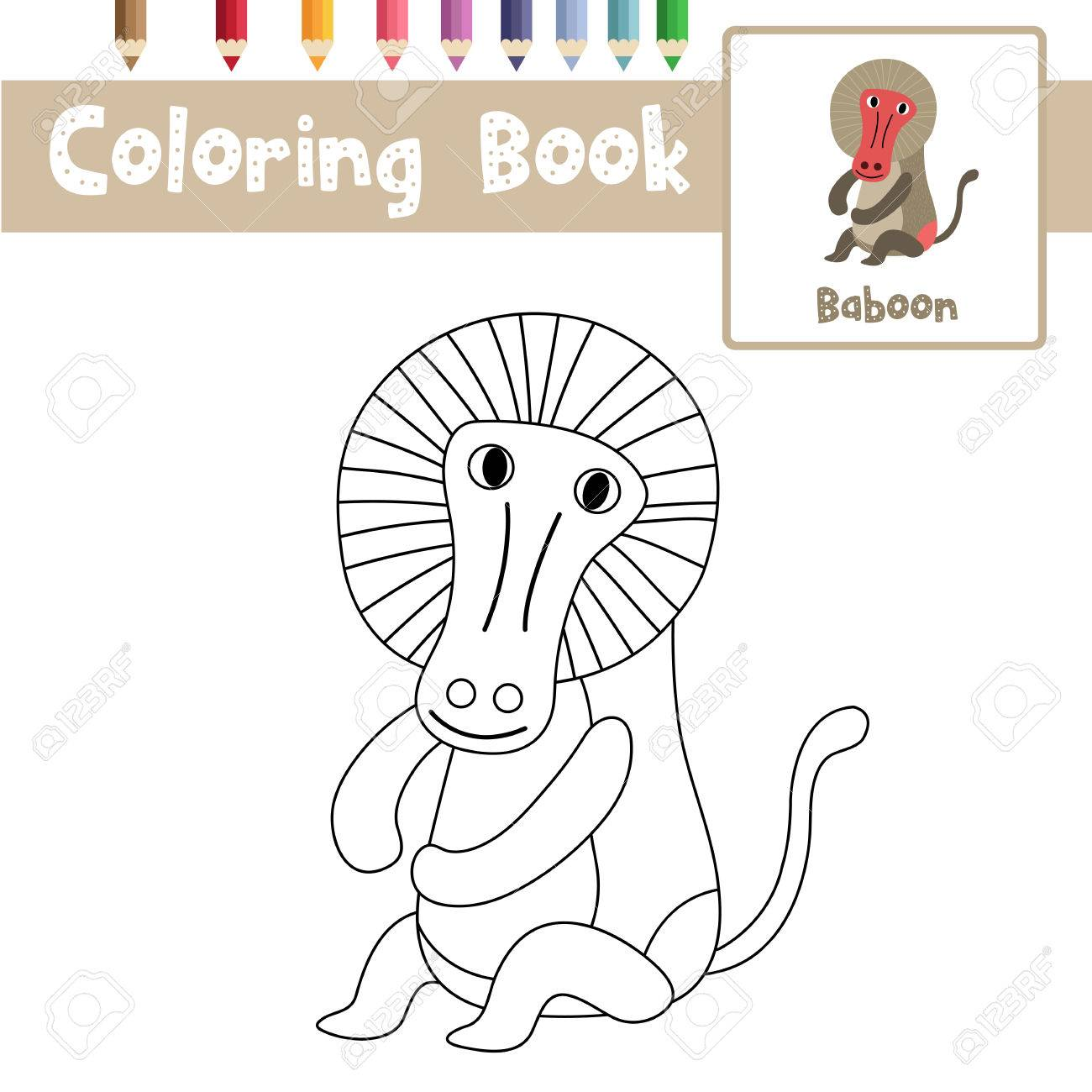 Coloring Page Of Sitting Baboon Animals For Preschool Kids Activity  Educational Worksheet. Vector Illustration.