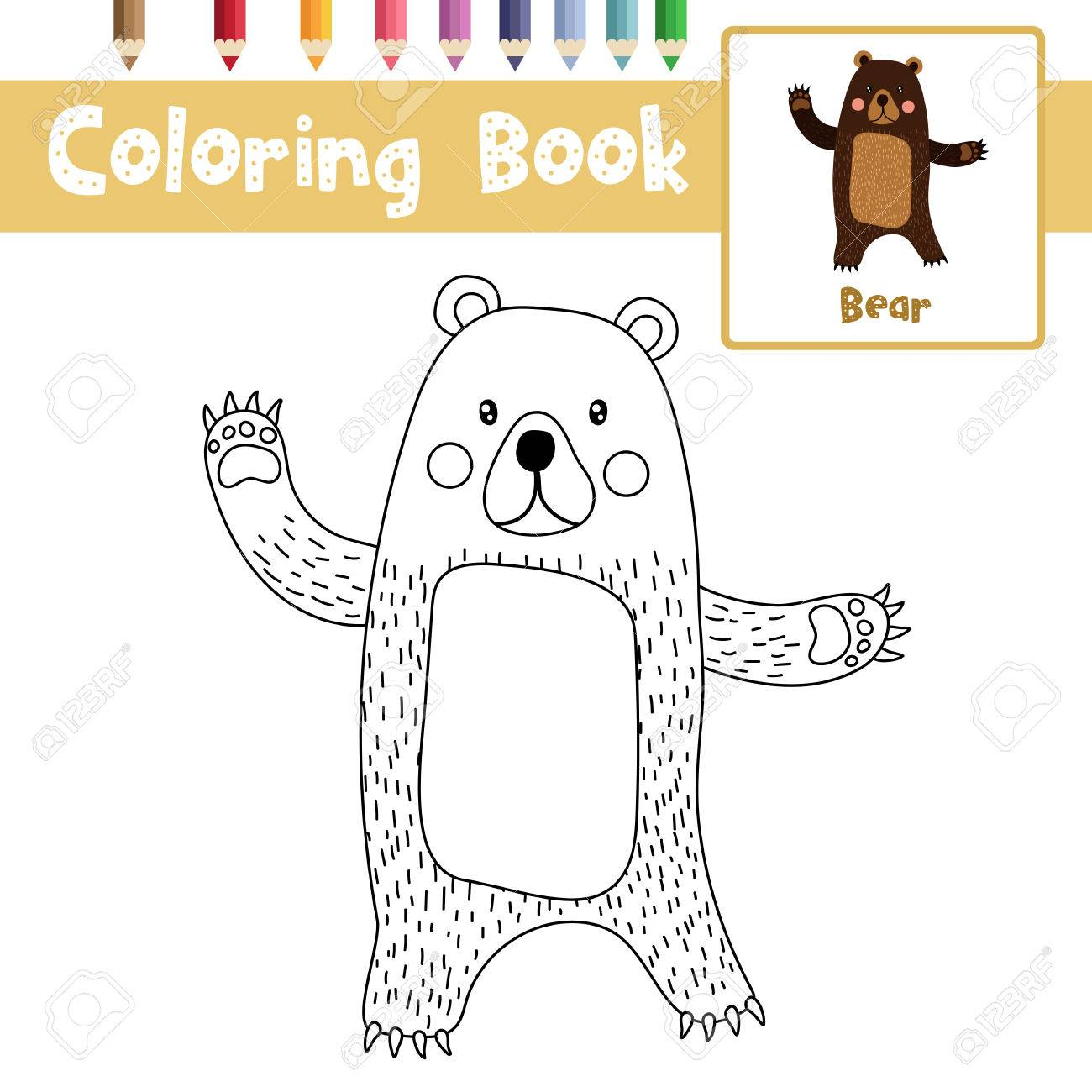 Coloring Page Of Standing Bear Raising Two Hands Animals For Preschool Kids Activity Educational Worksheet