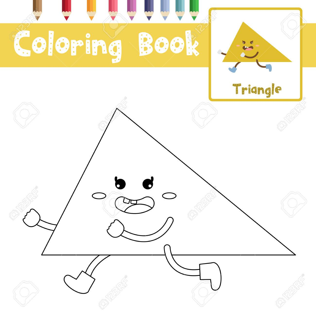 Coloring Page Of Triangle Shape For Preschool Kids Activity ...