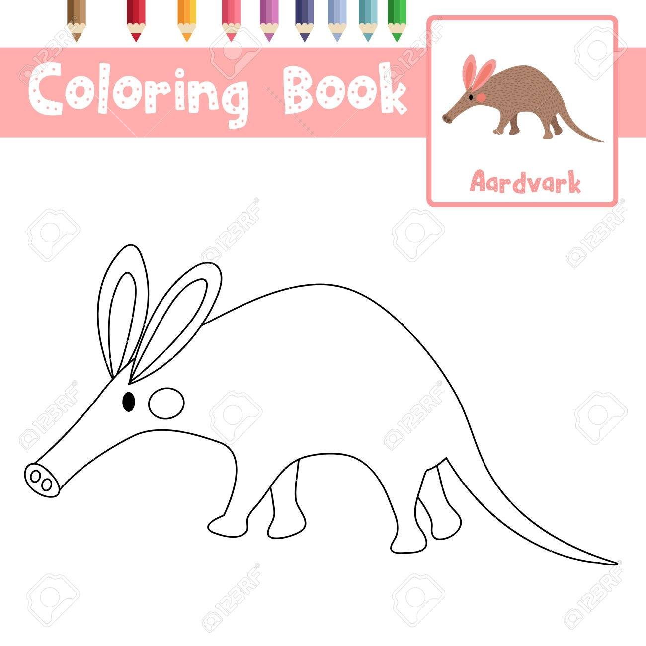 Coloring Page Of Aardvark Animals For Preschool Kids Activity Educational Worksheet Vector Illustration Stock