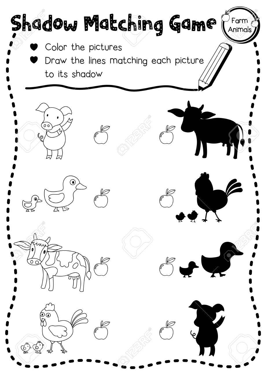photo regarding Animal Matching Game Printable named Shadow matching activity of farm pets for preschool small children recreation..